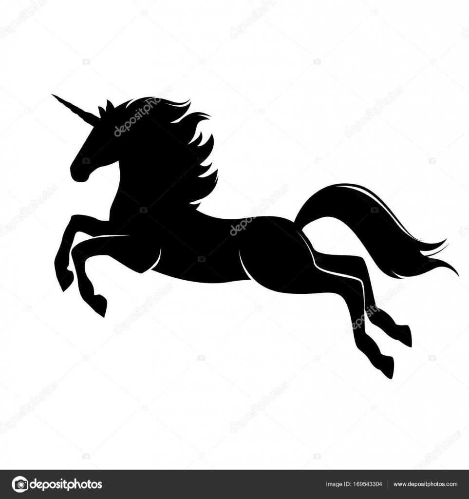 Magic cute black unicorn silhouette  — Stock Vector