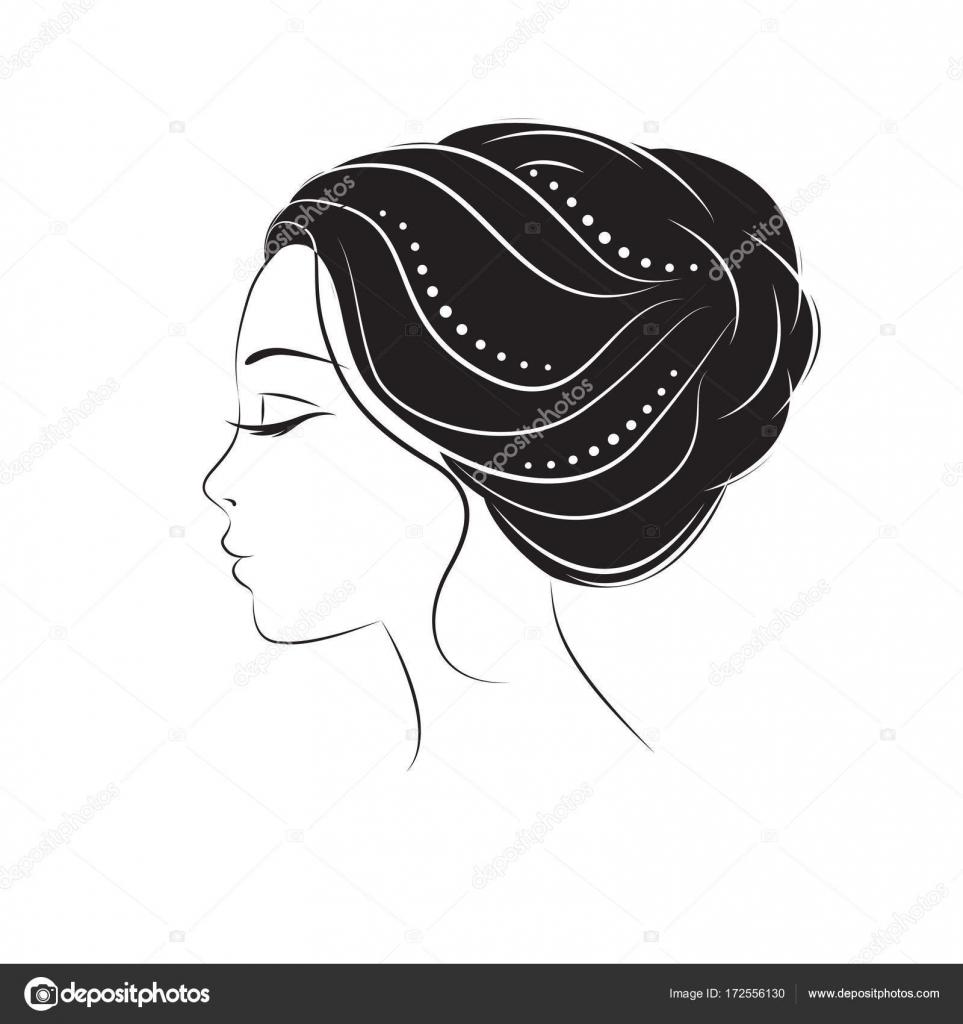 giovane donna del fronte di profilo sagoma elementi di disegno per negozio di barbiere acconciatura delle donne bianco e nero