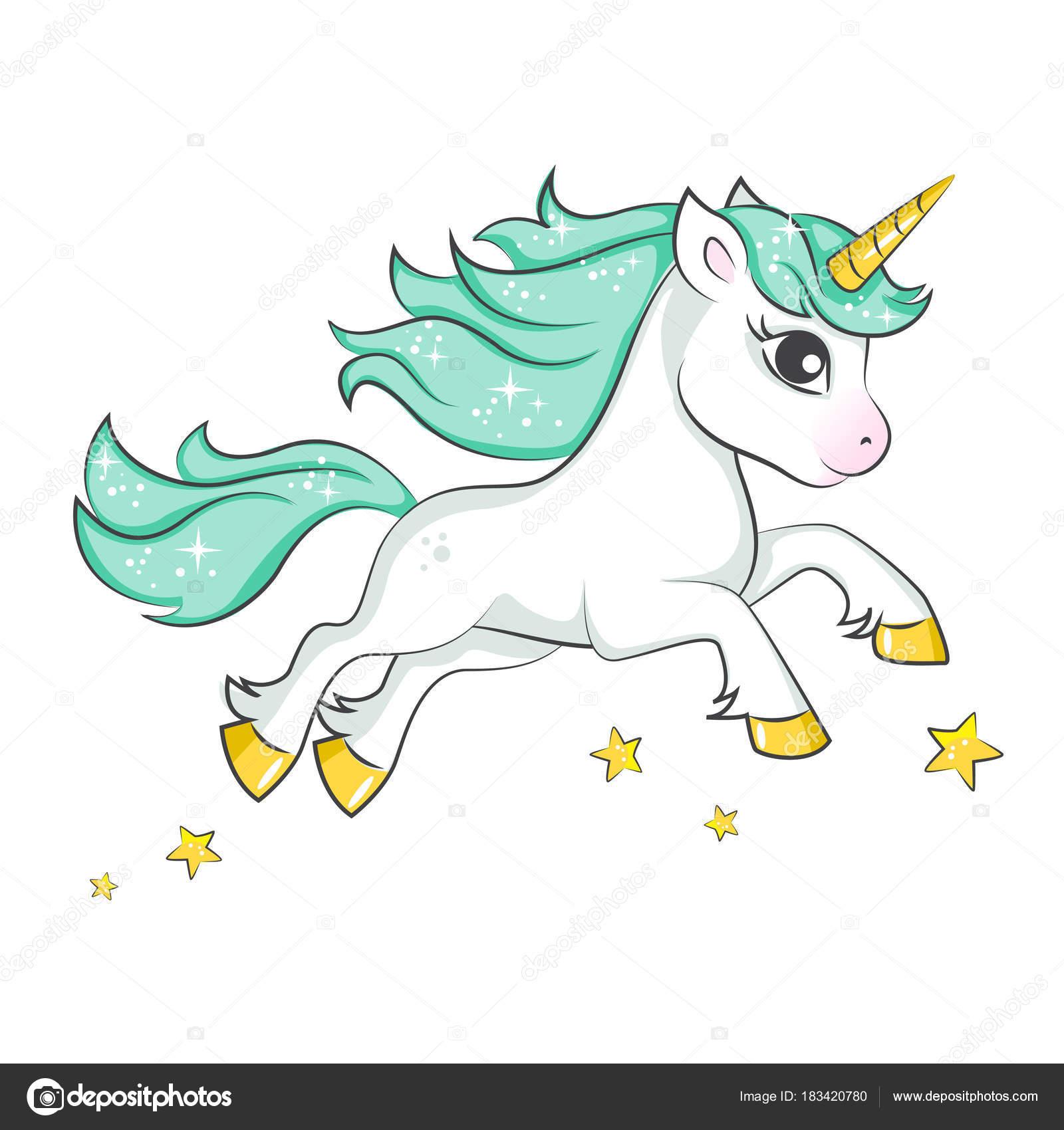 Vector Etiqueta Unicornio Lindo Unicornio Magico Diseno Vectores