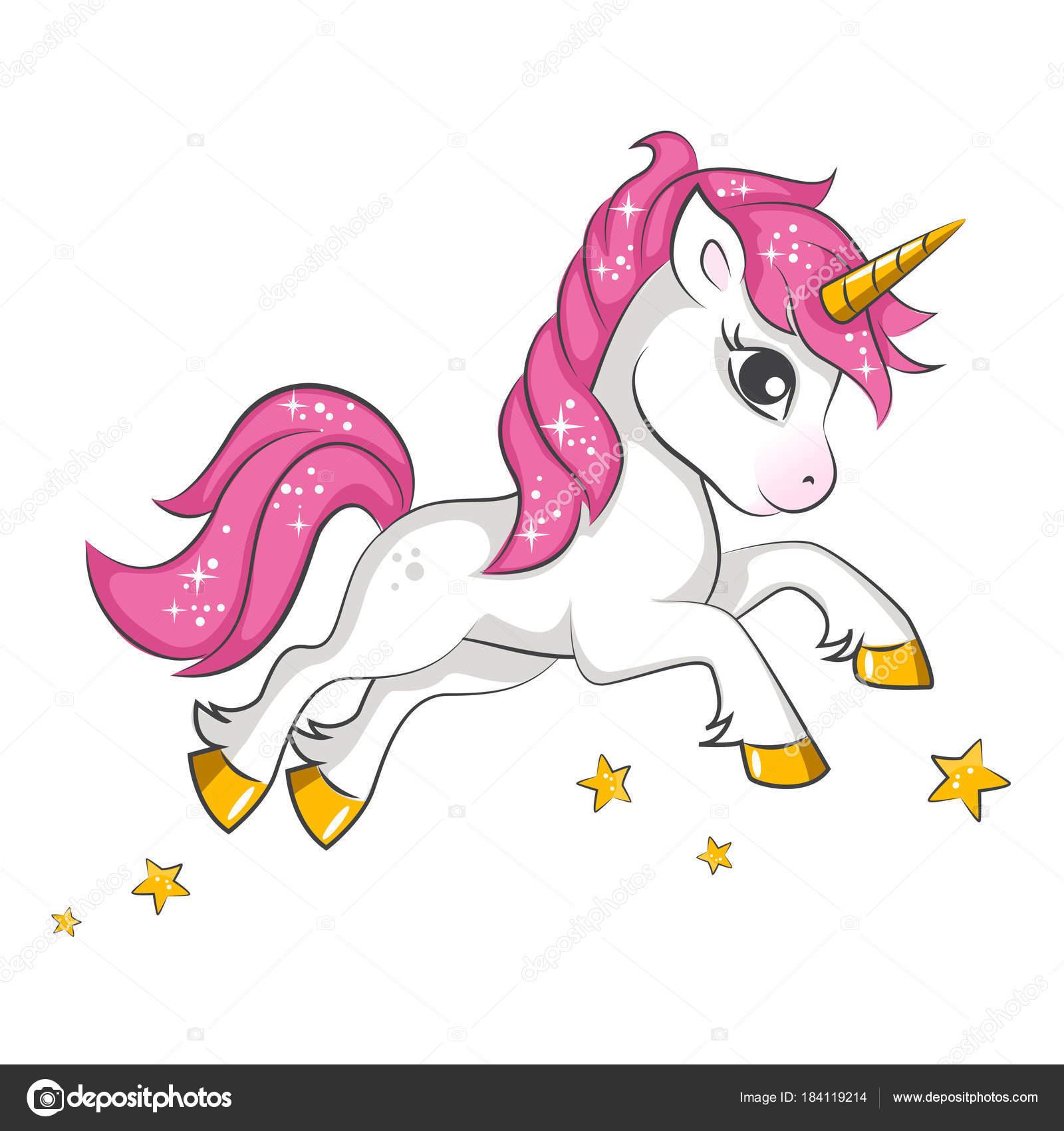 mignonne petite licorne magique rose dessin vectoriel sur fond blanc image vectorielle. Black Bedroom Furniture Sets. Home Design Ideas