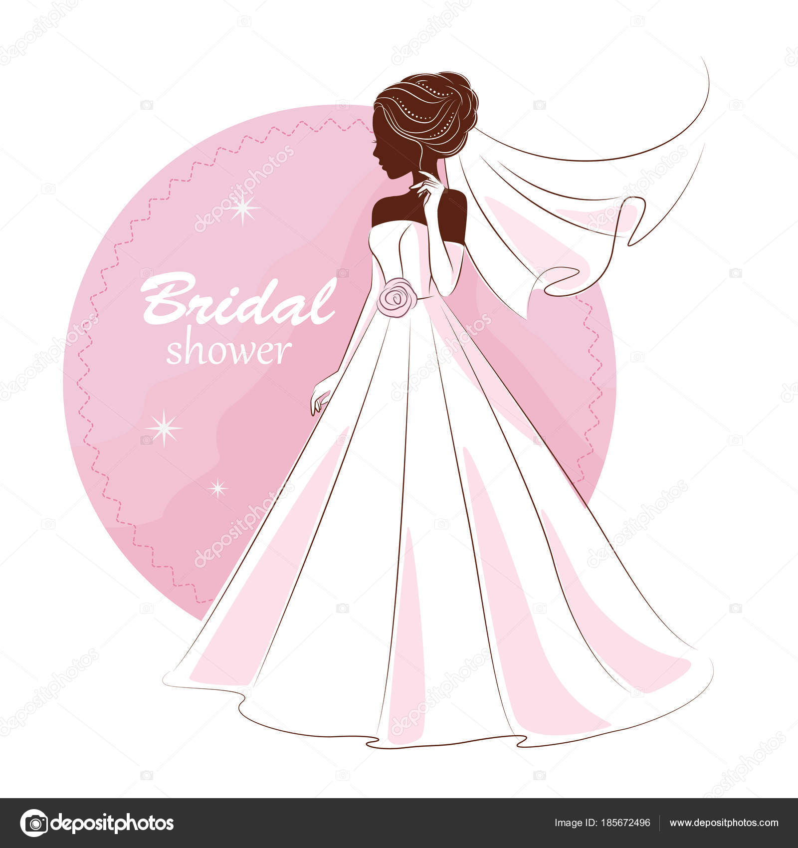 Bridal Shower Invitation Young Beautiful Bride Elegant Wedding Dress