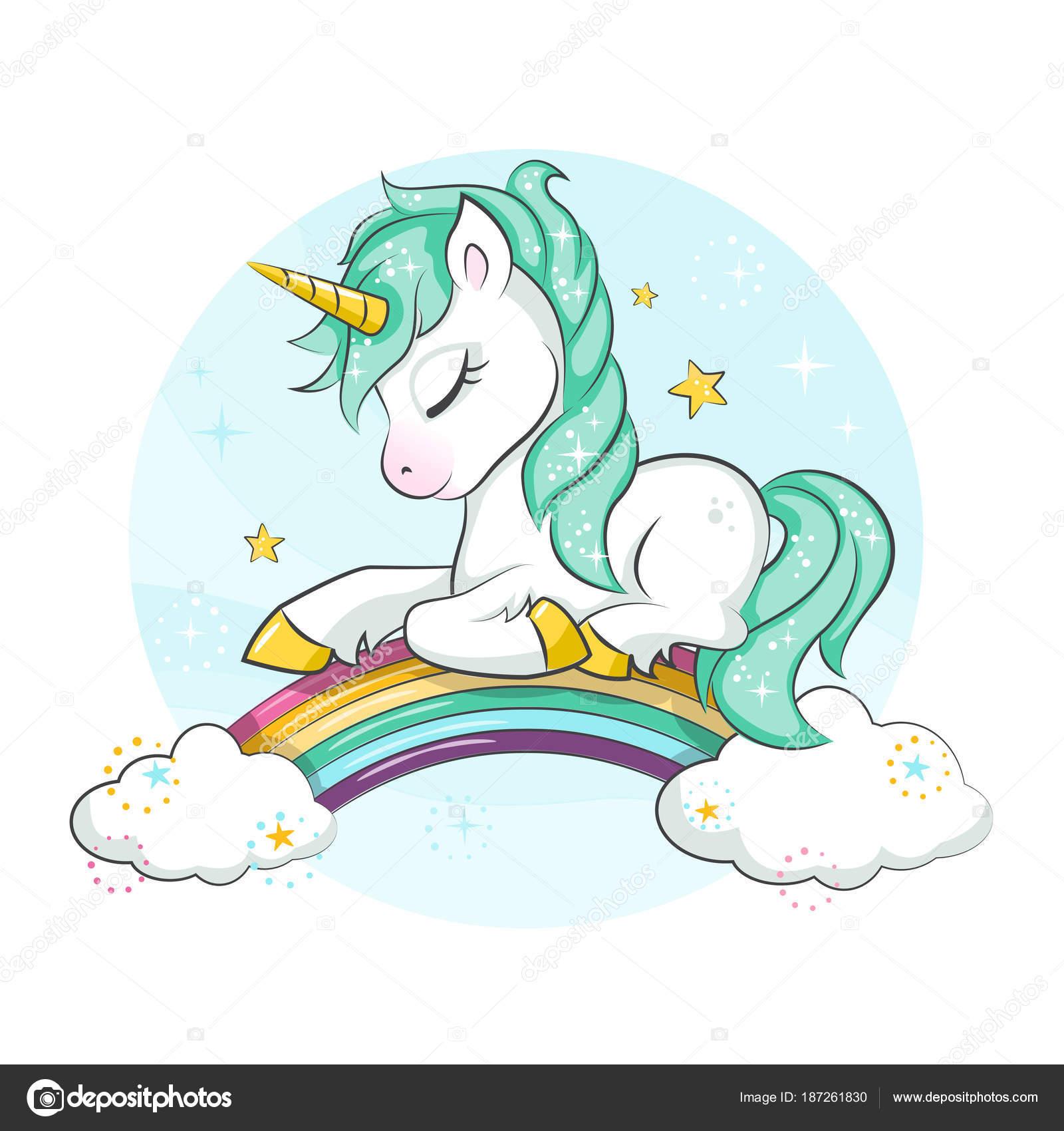 Vettore Sfondi Arcobaleno Disegno Piccolo Pony Unicorno Magico