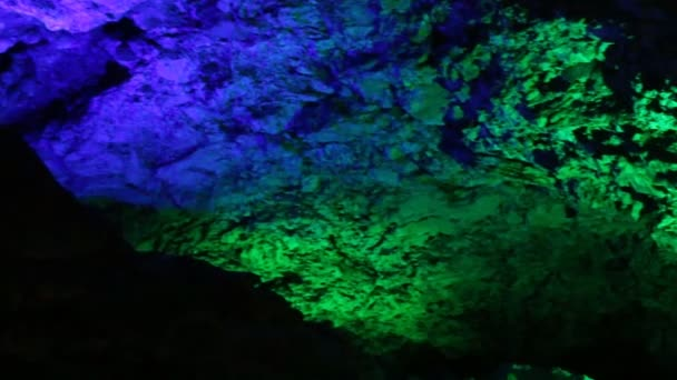 Karst cave in variety of colored light