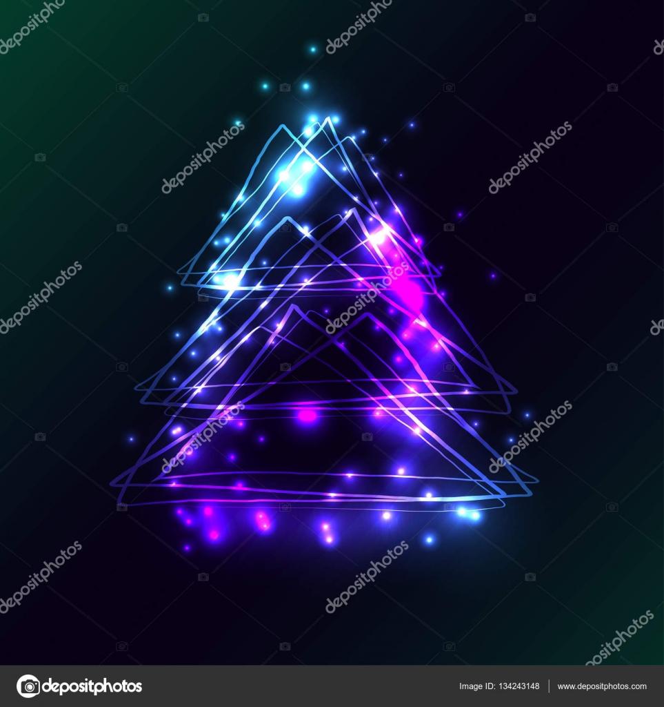 Hermosa tarjeta con rbol de navidad de estilo techno - Arbol de navidad hecho de luces ...