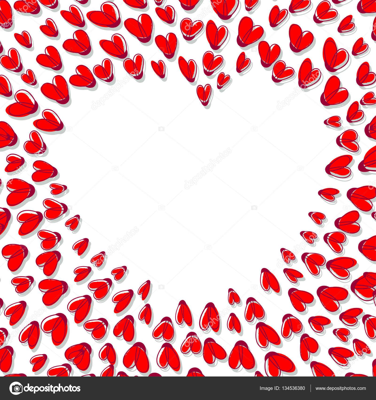 Corazón forma marco de corazones rojos — Archivo Imágenes ...