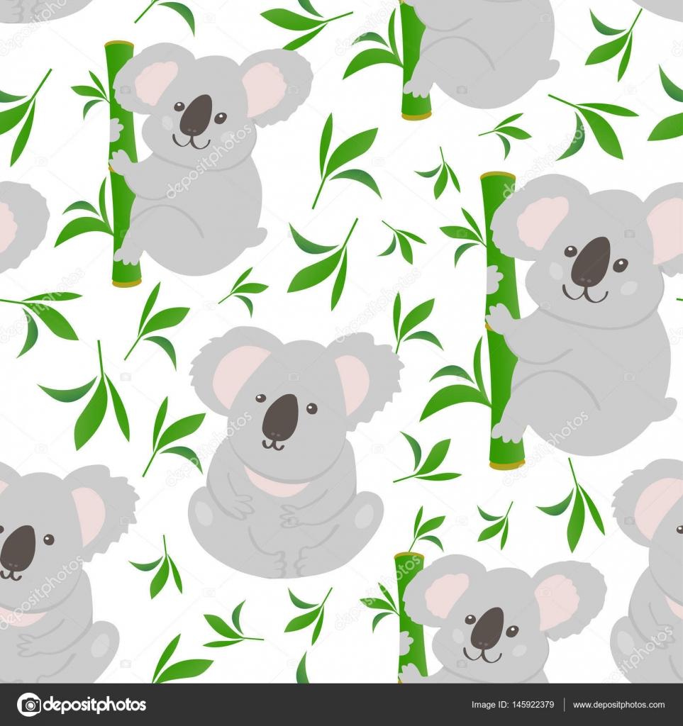 Koala Doodle Sans Soudure De Fond Image Vectorielle