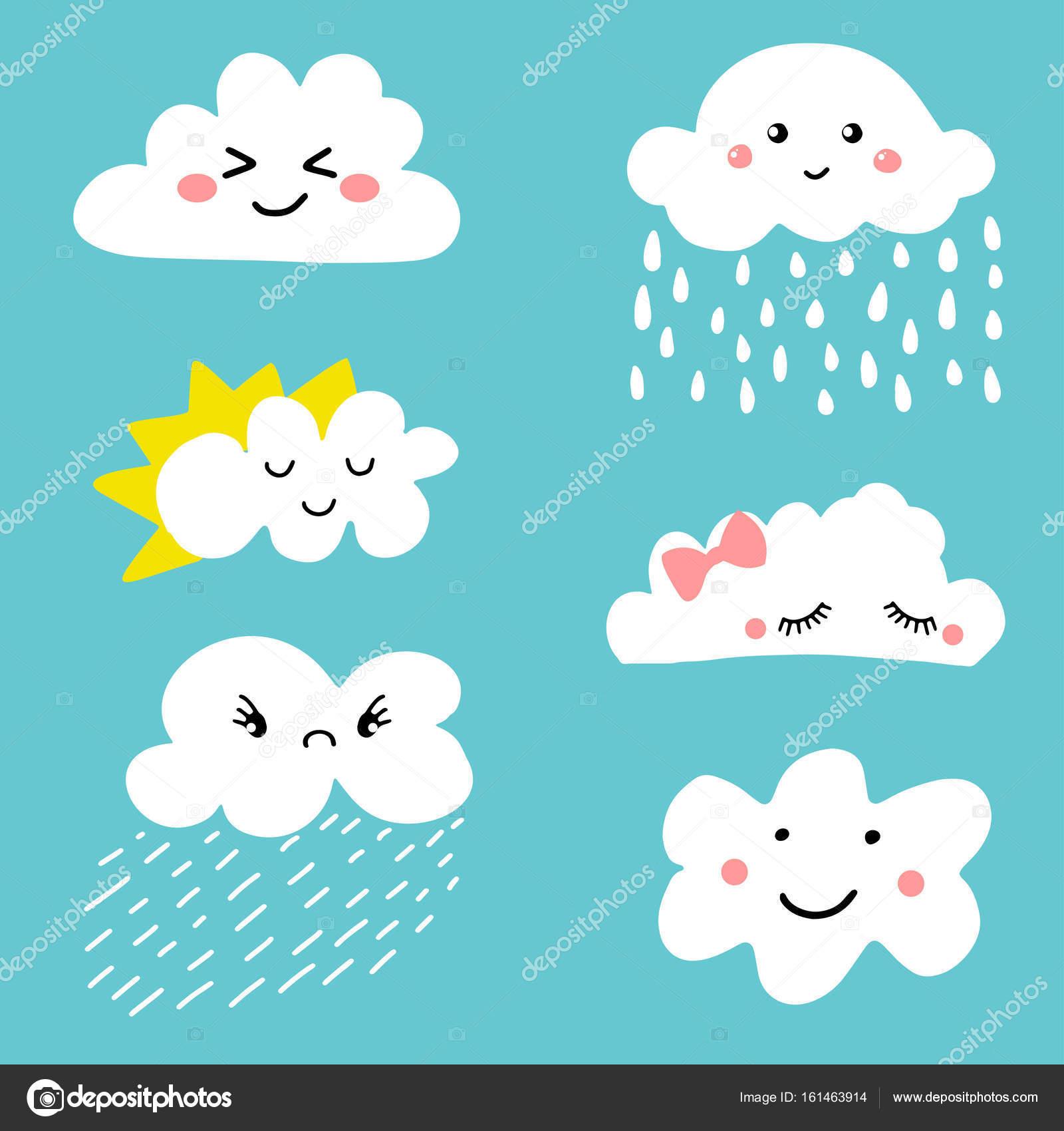 Conjunto de iconos de dibujos animados lindo y adorable el tiempo en las nubes vector de stock - Imagenes de nubes infantiles ...