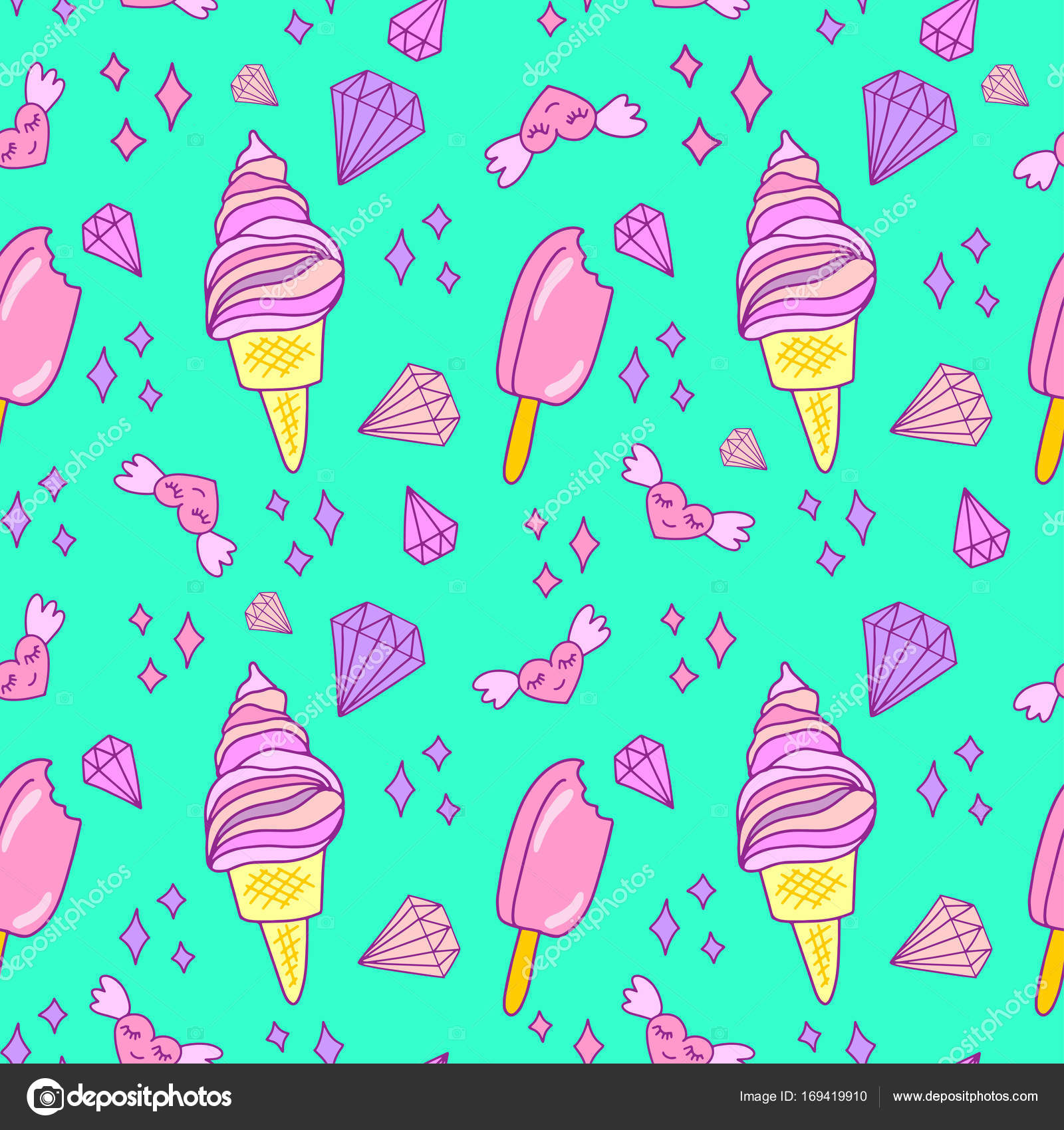 Ice Cream Cones Seamless Pattern Background Stock Vector: Lovely Ice Cream Cones Seamless Background Pattern. Vector