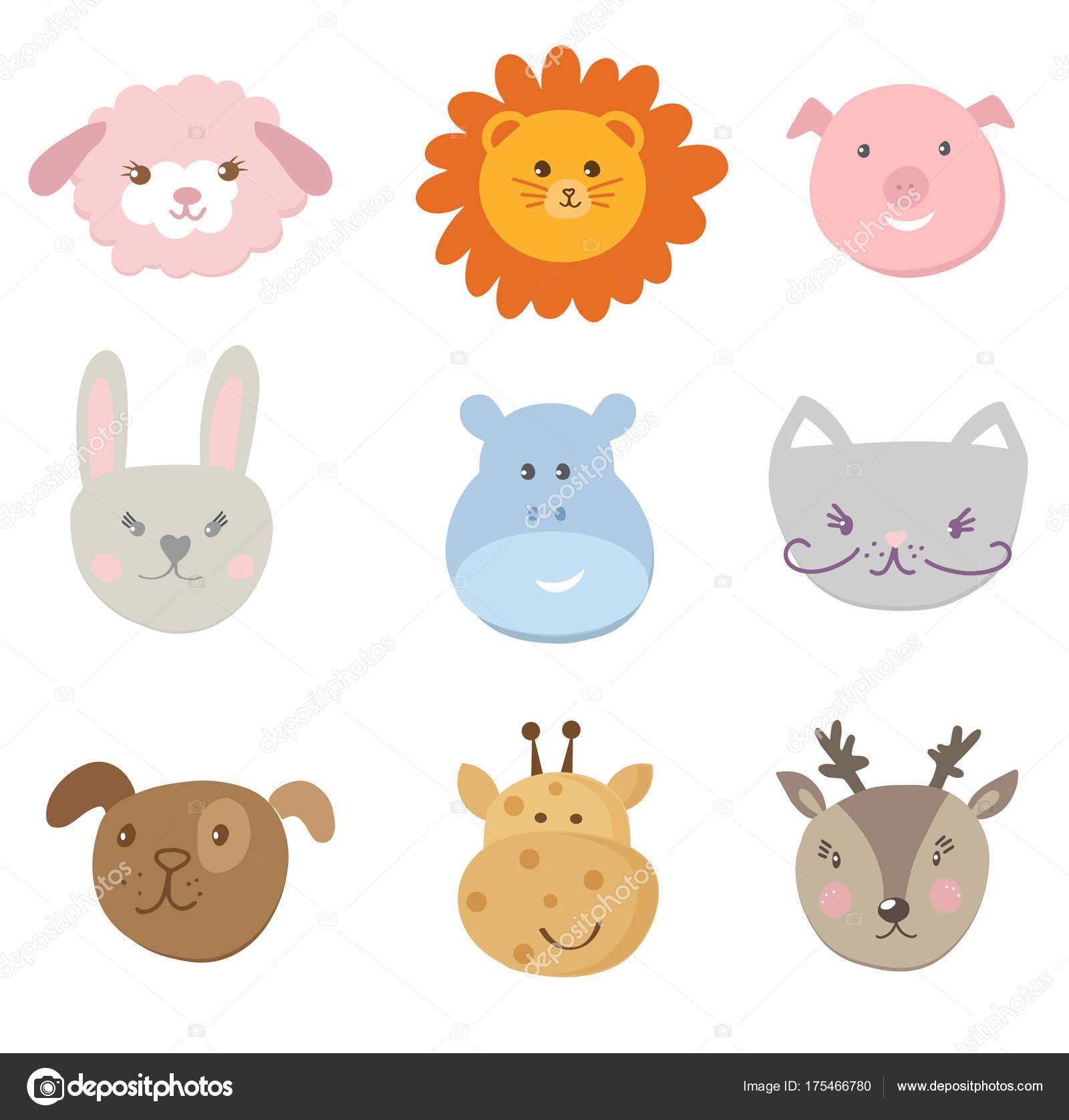 かわいい顔の動物のコレクション — ストックベクター © mcherevan #175466780