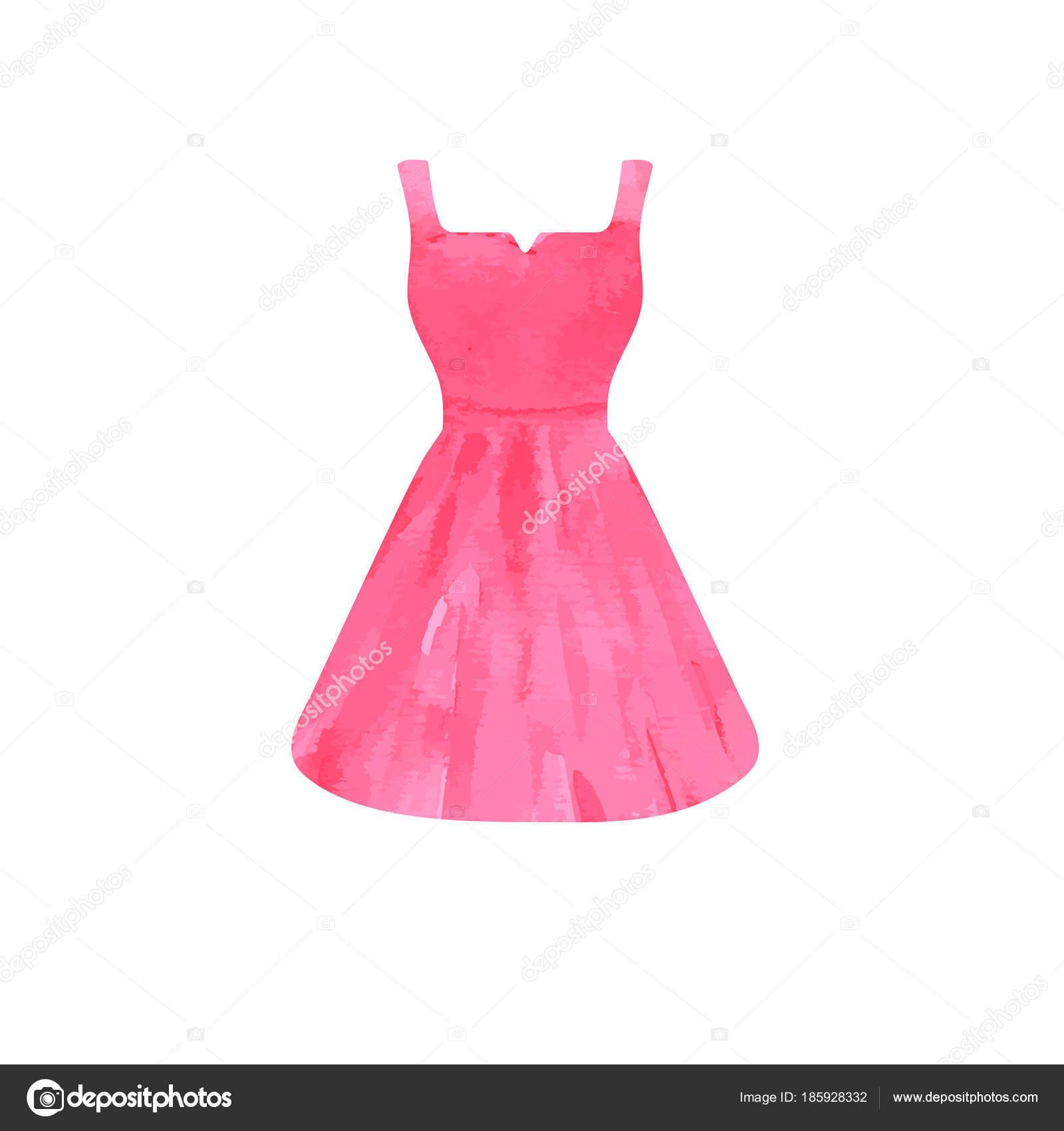 Boceto acuarela vestido rosa brillante — Vector de stock © mcherevan ...