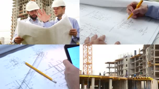 Construction engineers at construction site. Collage