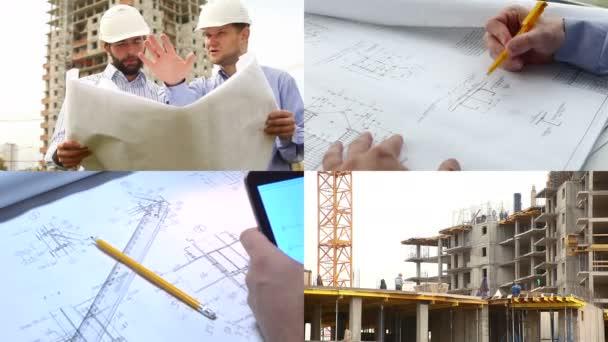 Stavební inženýři na staveništi. Koláž