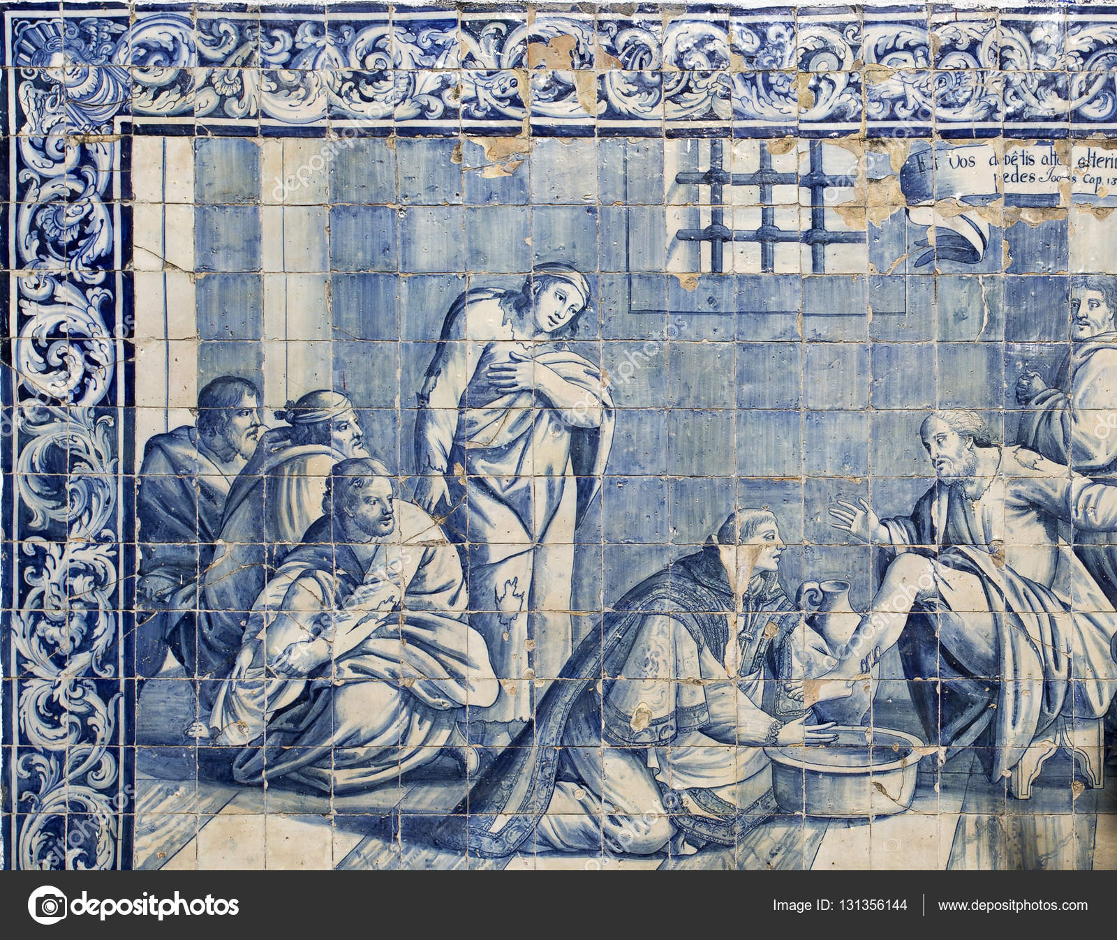 Role of the water on 18th century tiles panels stock editorial detail of the 18th century tiles panel depicting the role of water in society located in between the arches at the end of the aqueduct of the free waters shiifo