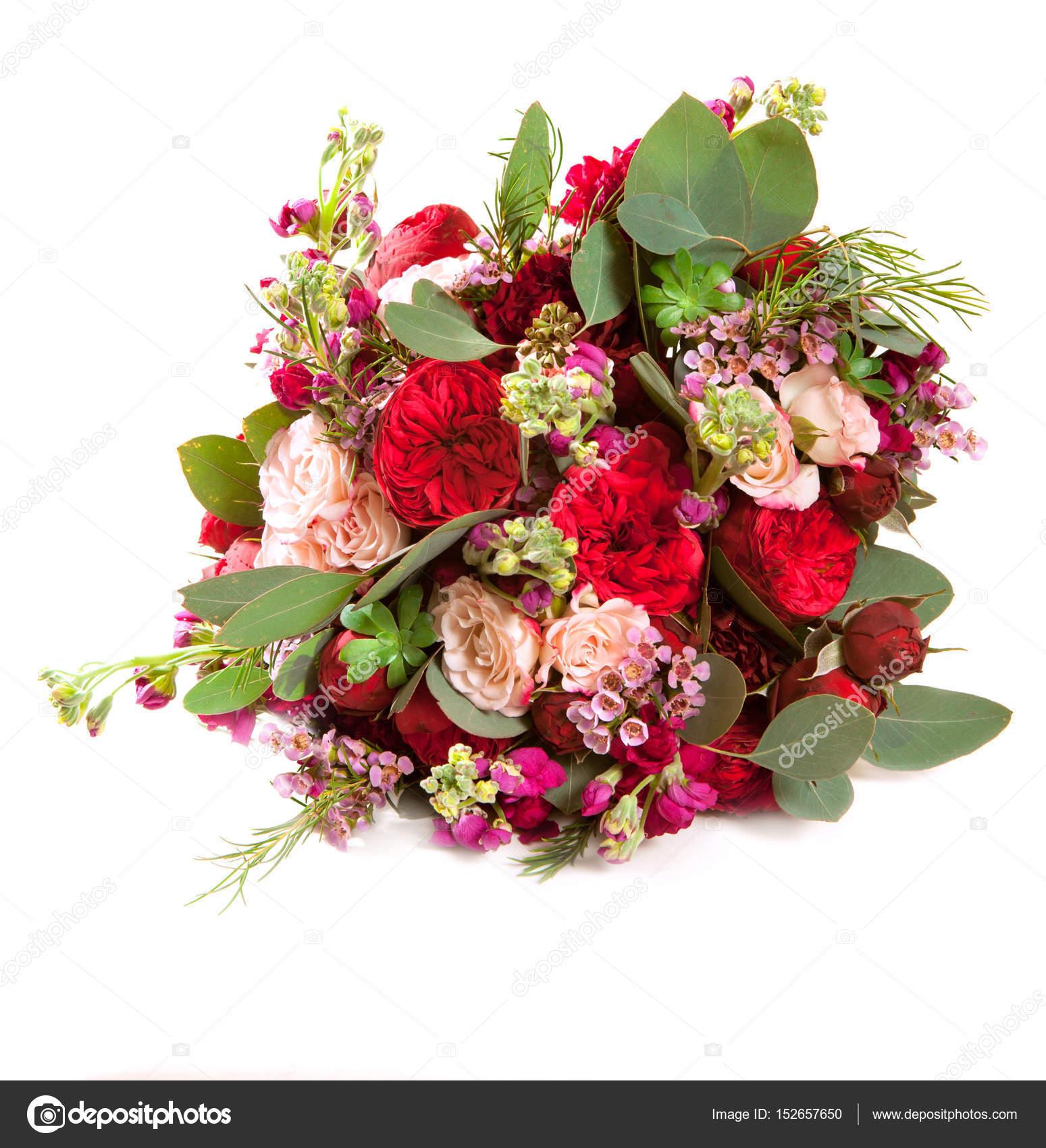 ramo de novia rojo aislado en blanco gran ngulo de visin Fotos