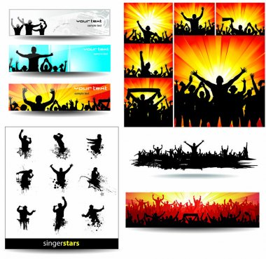 Backgrounds and icons of cheering and singing people