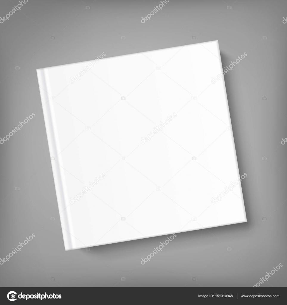 Plantilla de libro de tapa cuadrada en blanco sobre fondo gris ...