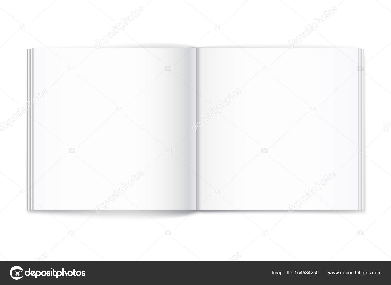 blank of open square magazine on white background template stock