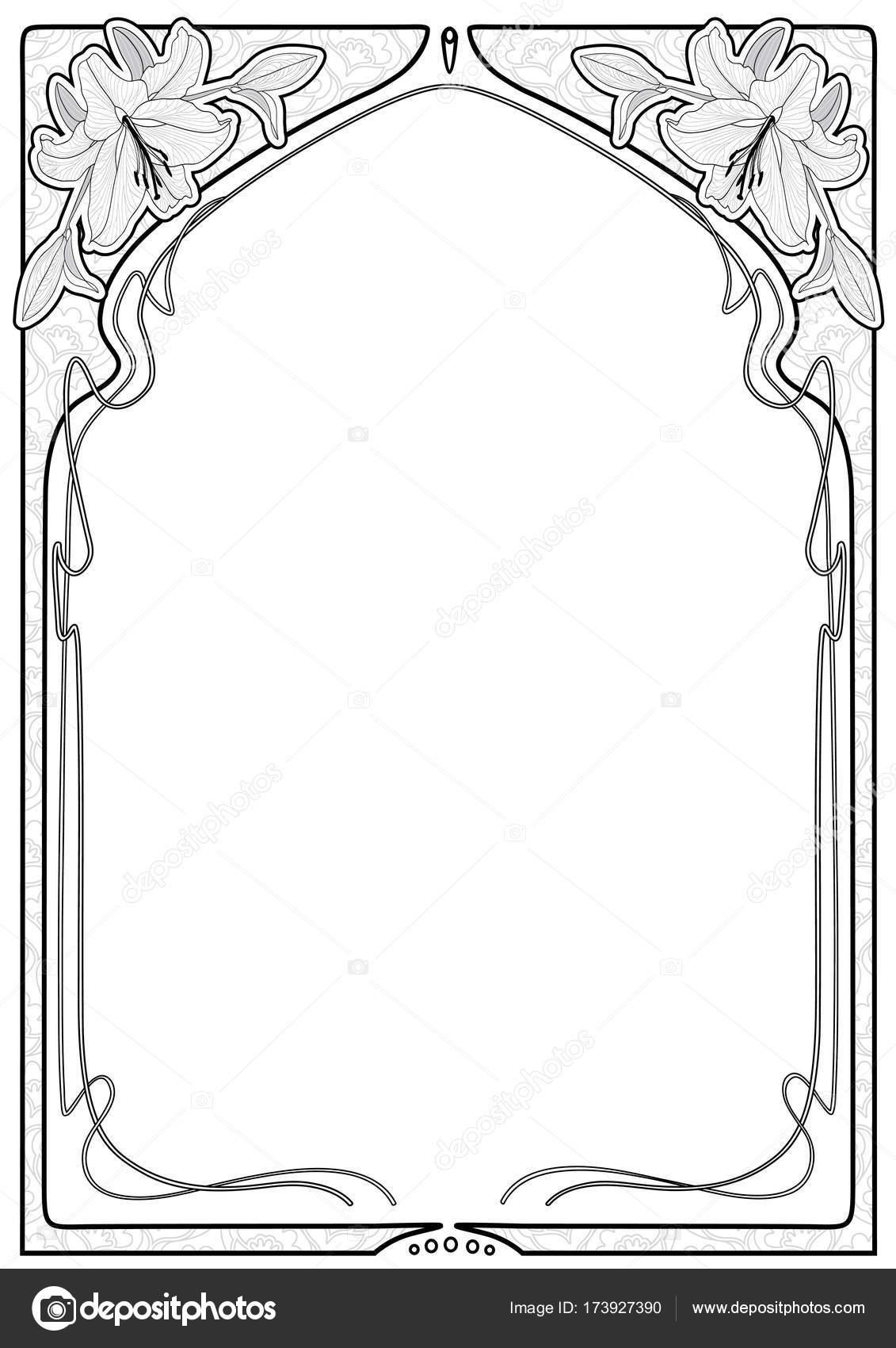 Rectangular decorative frame with art Nouveau ornament. — Stock ...