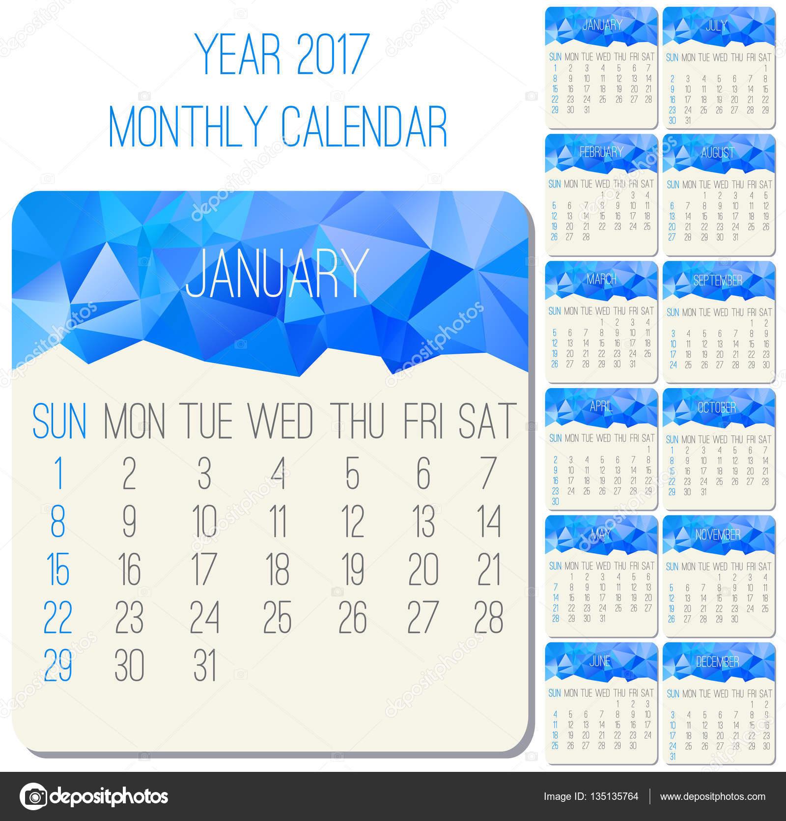 Calendario Anno 2017.Calendario Mensile Anno 2017 Vettoriali Stock C De Kay