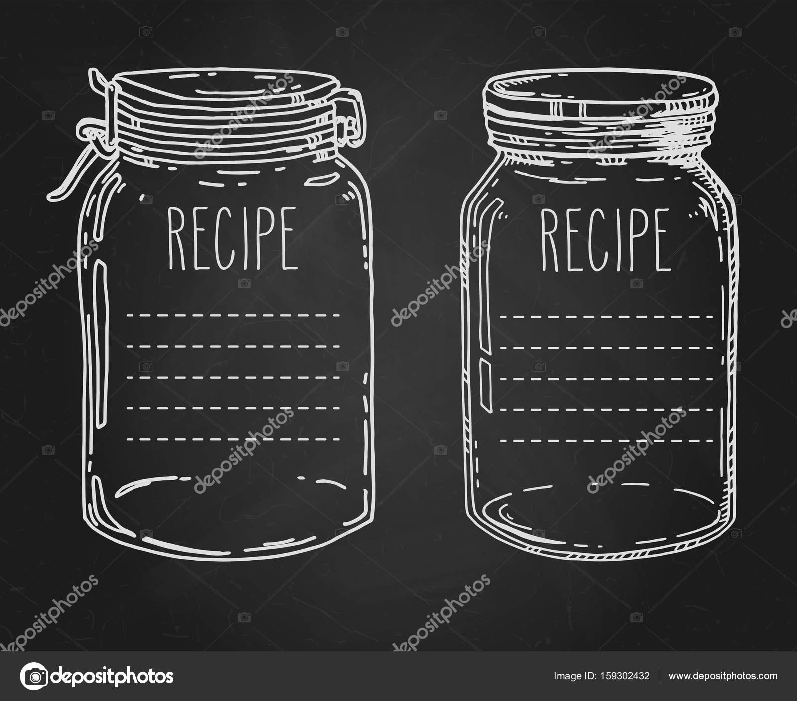 Plantilla de receta de tarros dibujados mano — Vector de stock ...