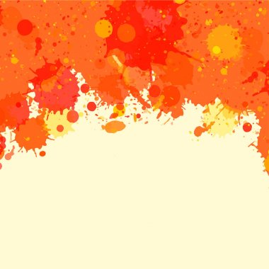 Orange watercolor paint splashes frame