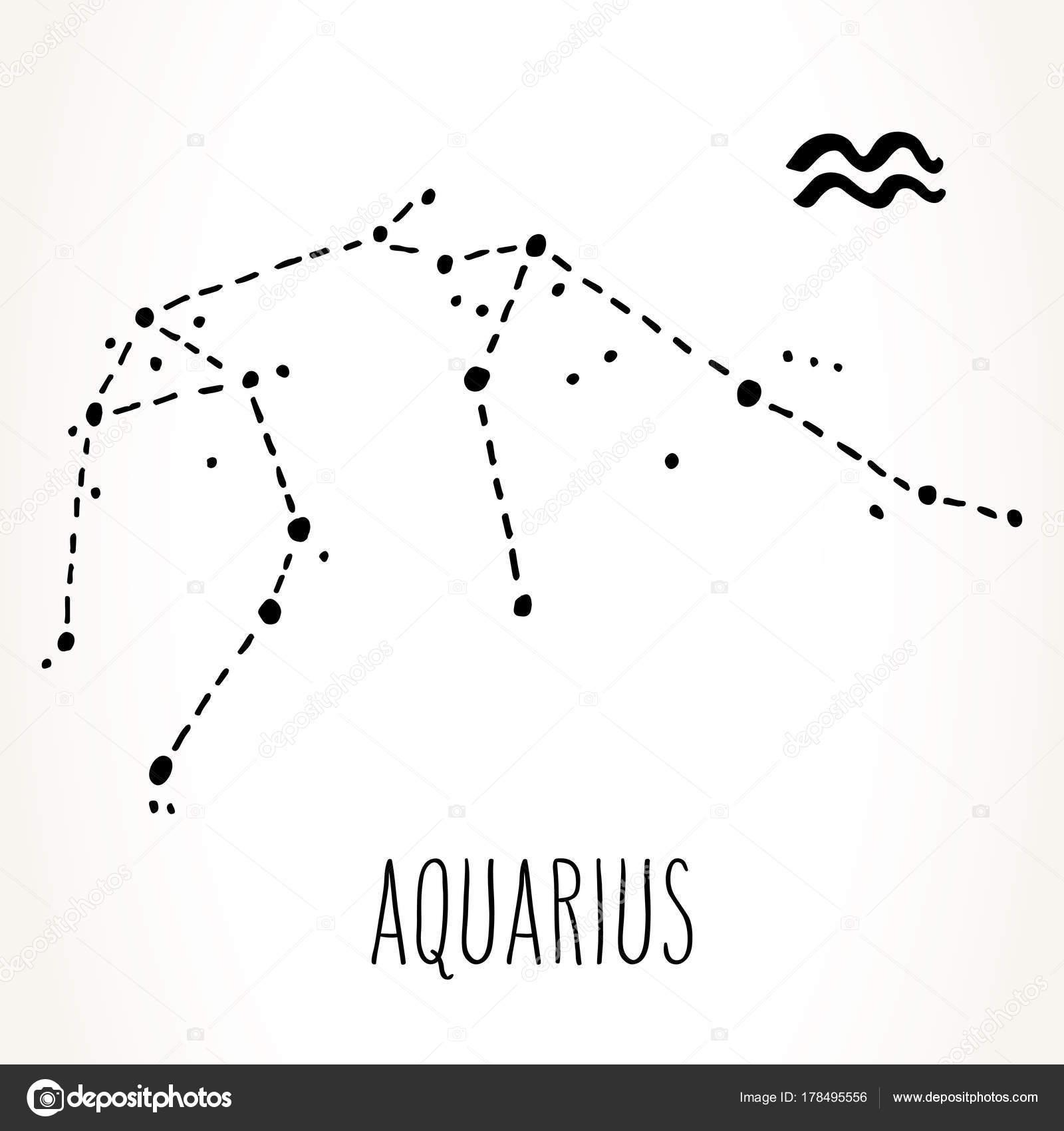 Constelao de aquarius zodiac sign vetores de stock de kay aquarius mo desenhada zodiac sinal constelao preto isolado sobre fundo branco ilustrao de astrologia de grficos vetoriais ccuart Gallery