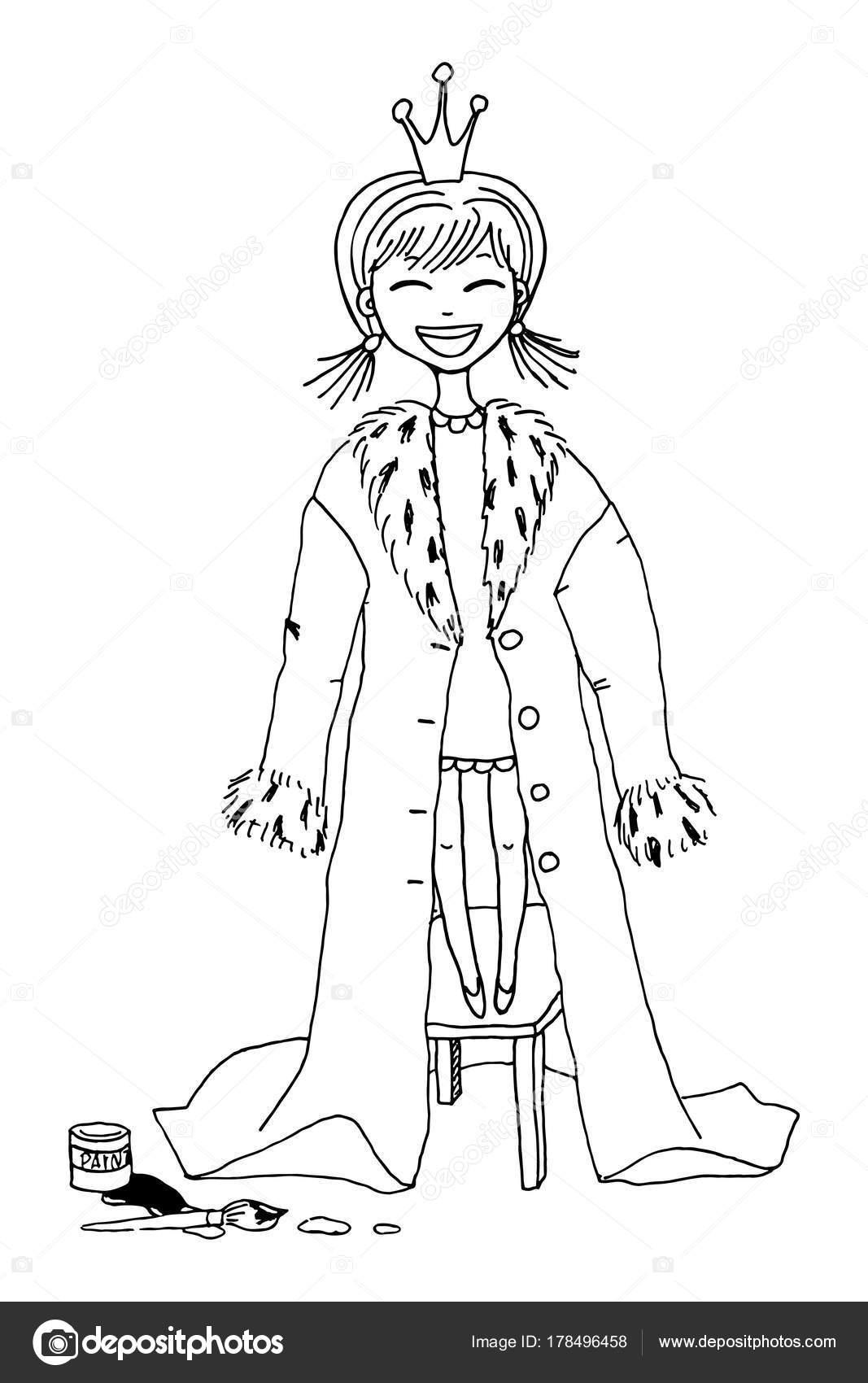 Küçük Prenses Kız Stok Vektör De Kay 178496458
