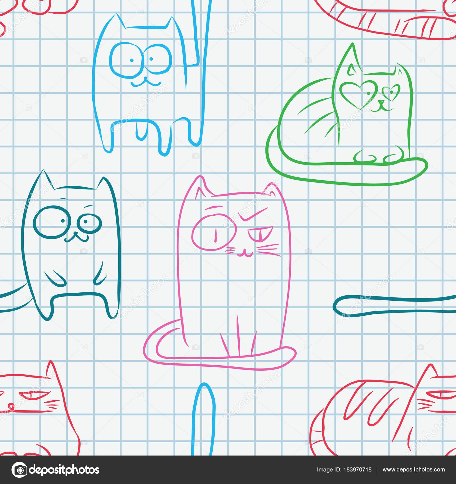 Dibujos: en cuadernos cuadriculados   patrón sin costuras gatos ...