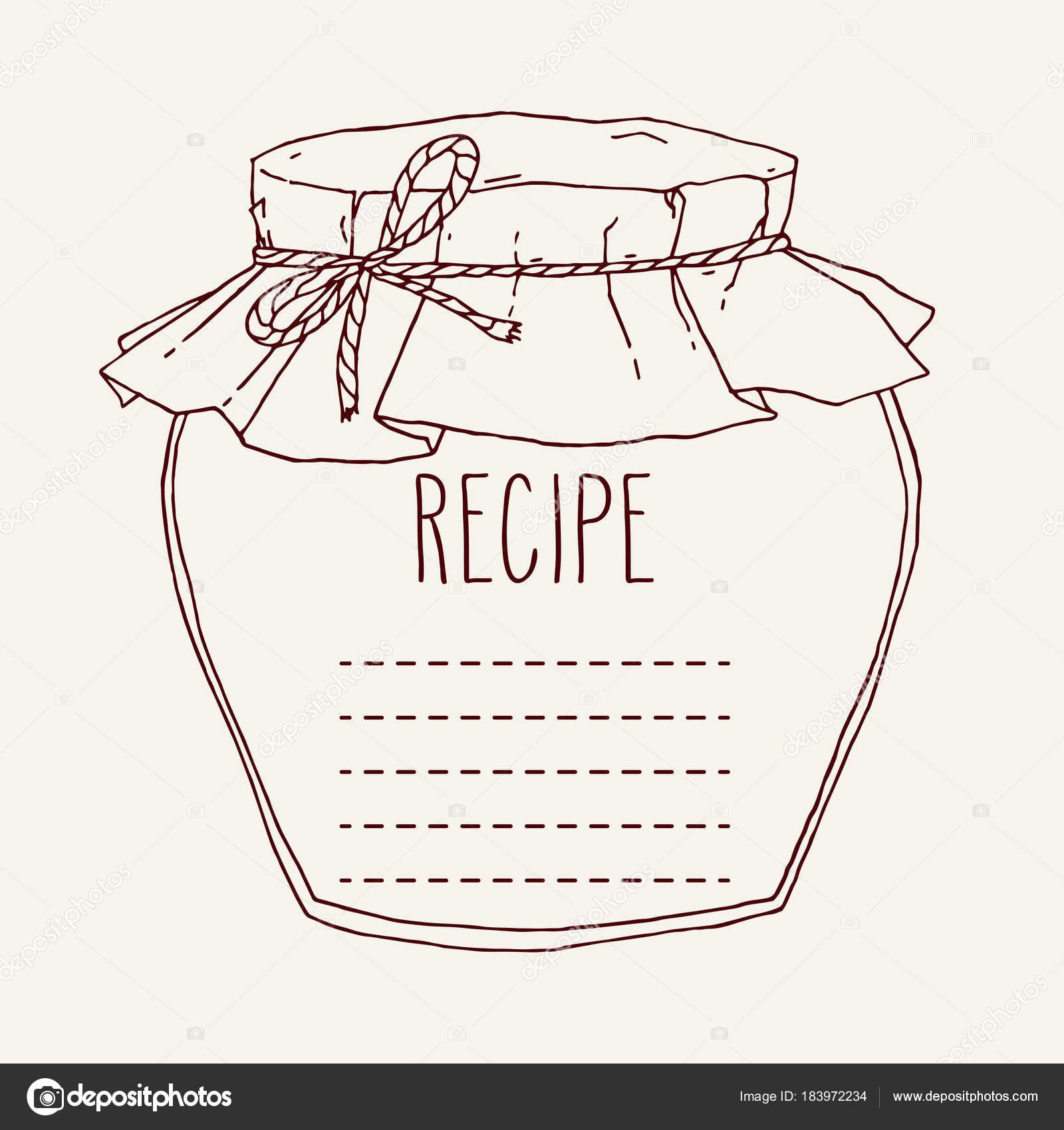Mano dibuja la plantilla de receta de tarro de mermelada — Vector ...