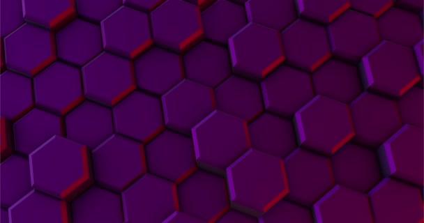 Purpurfarbener Hintergrund von Sechsecken bewegt sich im Kreis