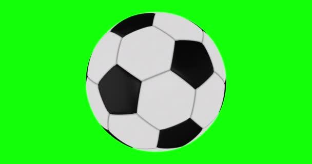 Fotbalový míč se bezproblémově otáčí na zelené obrazovce