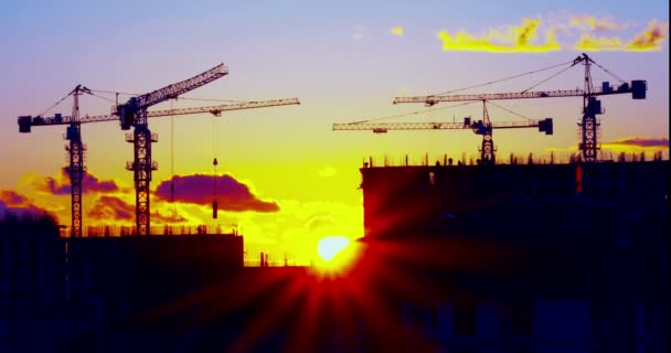 Construction Cranes on a Sunset Background
