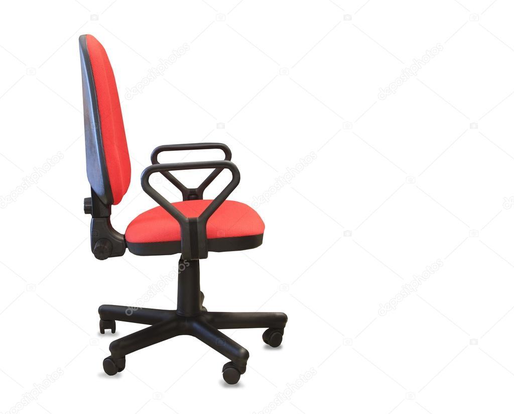 Chaise de bureau moderne de tissu rouge isolé u photographie
