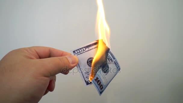 Hand hält einen brennenden Hundert-Dollar-Schein