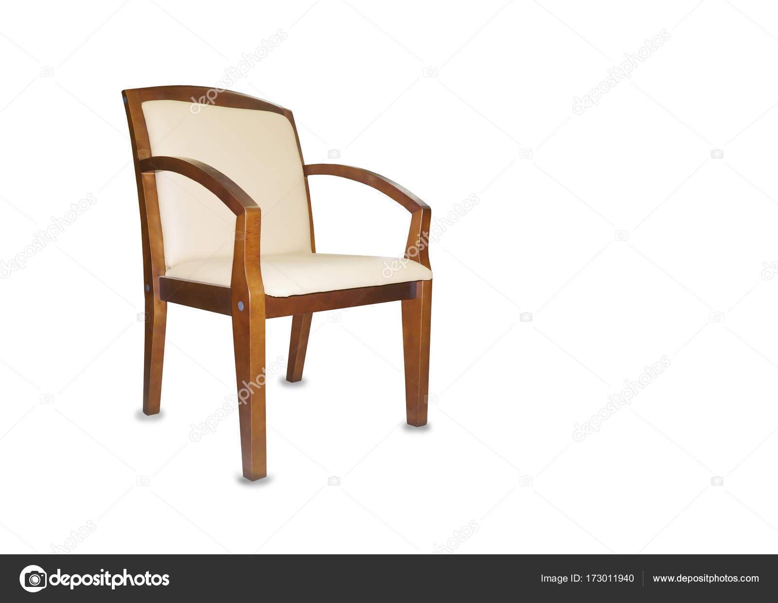 De stoel van het bureau van beige leer geïsoleerd u stockfoto