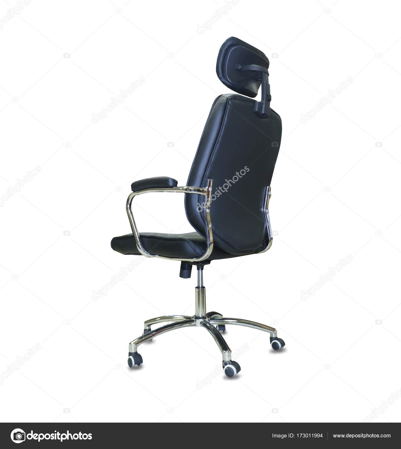 modern office chair leather. Back View Of Modern Office Chair From Black Leather. Isolated \u2014 Photo By Kurganov Leather