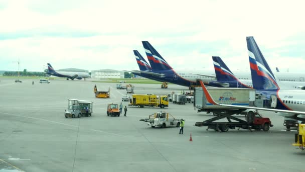 Moskva, Ruská federace 17. července 2017: Velký provoz osobních letadel a služebních vozů na letišti v Šeremetěvu.