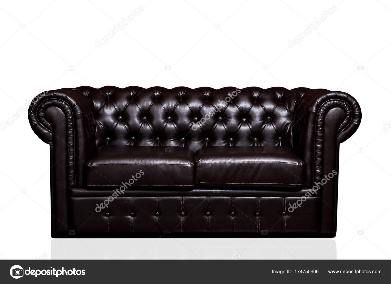 Vintage old dark brown leather sofa isolated on white ...
