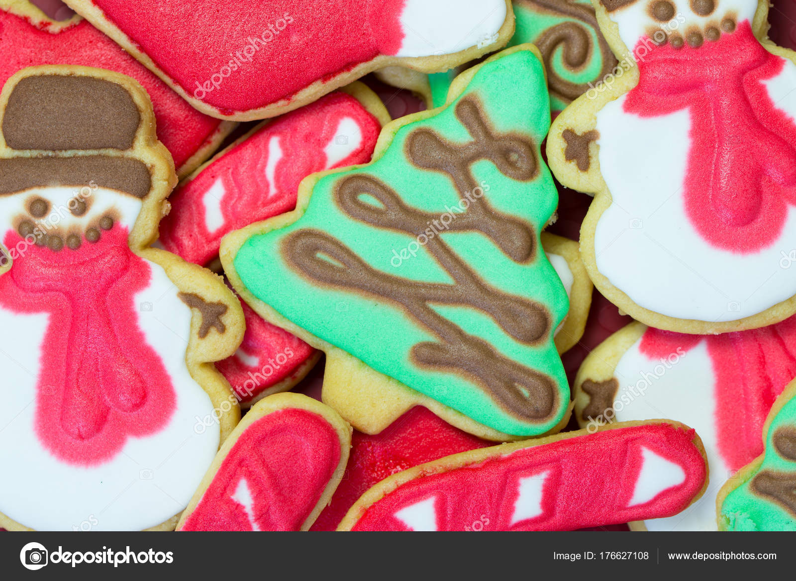 Royal Icing Christmas Cookies.Christmas Cookies Decorated With Royal Icing Stock Photo