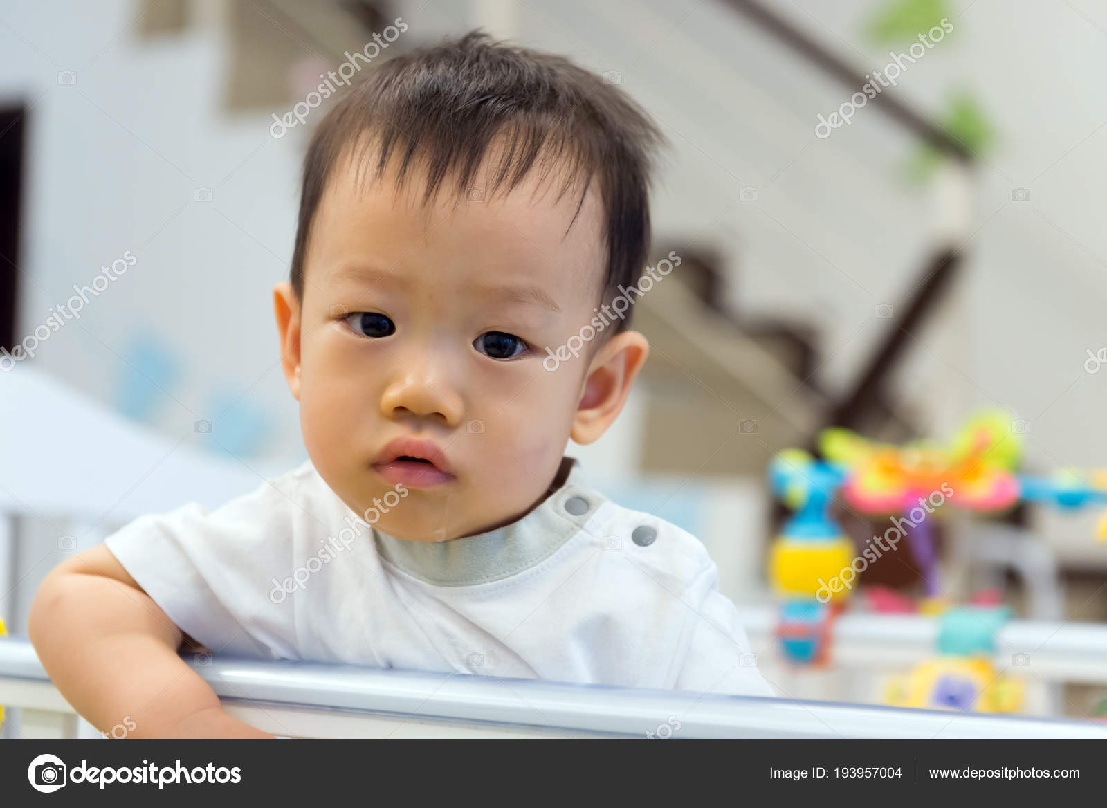 asian baby cute boy in crib — stock photo © shirotie #193957004