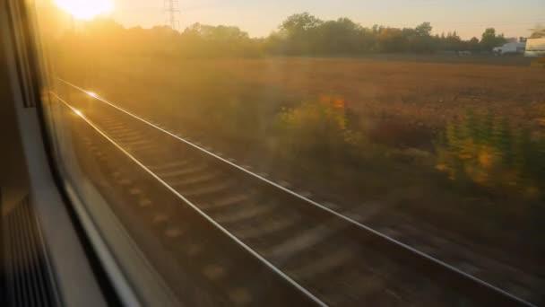 Train journey sunset light