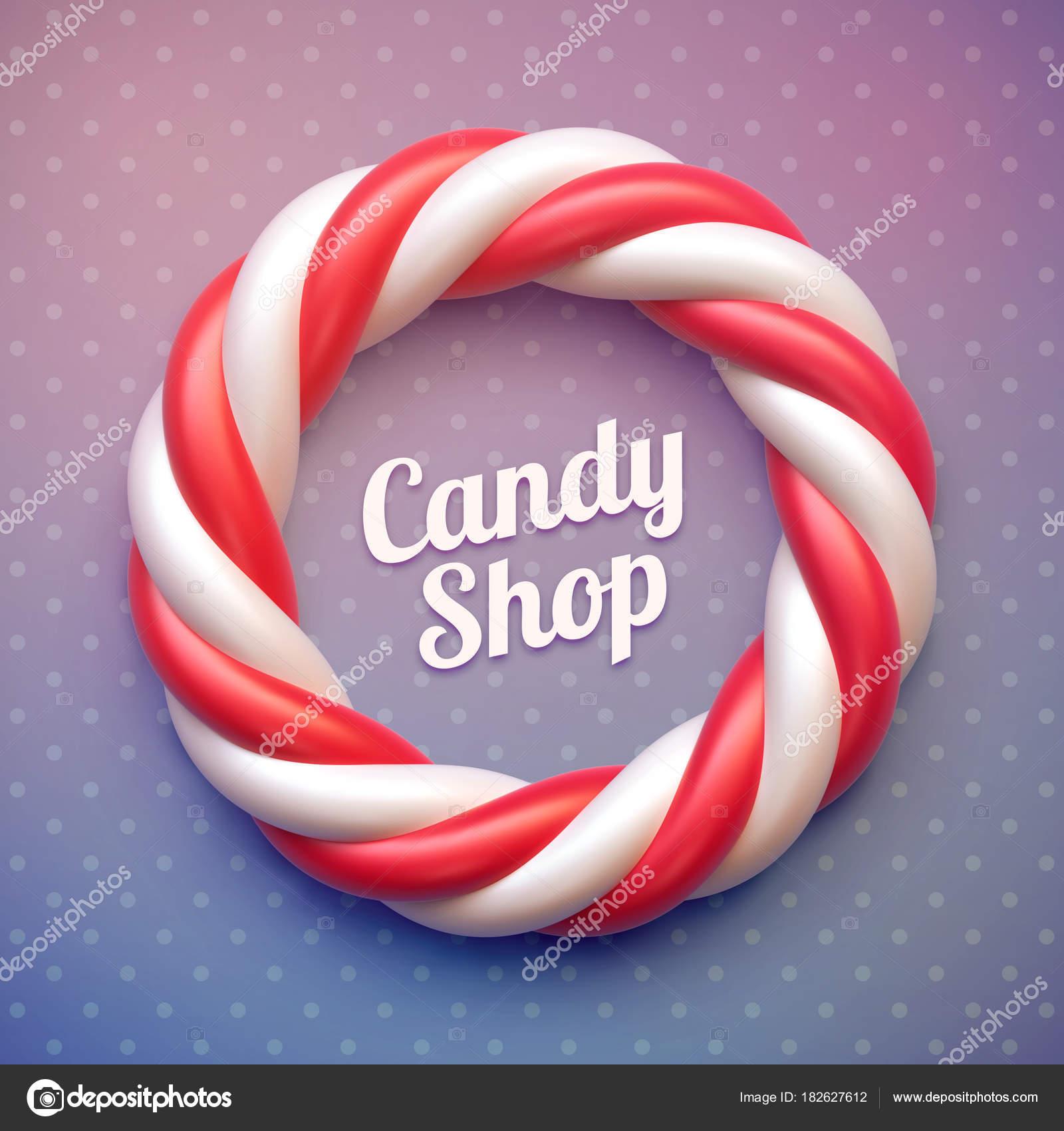 Marco de círculo caña de caramelo en el fondo de lunares — Vector ...