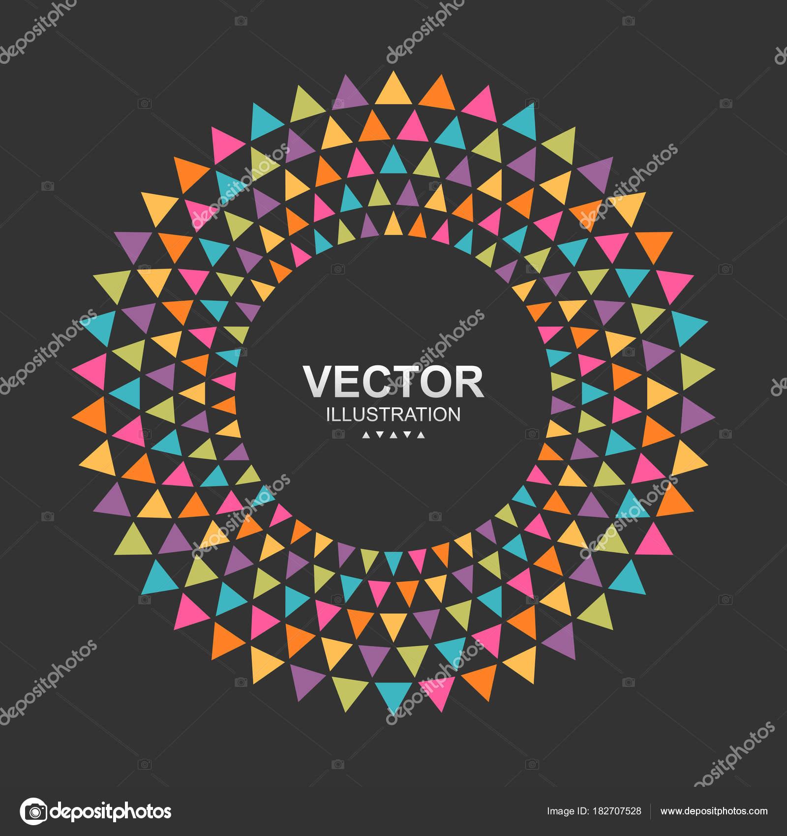 Frontera de marco colorido triángulos círculo — Vector de stock ...