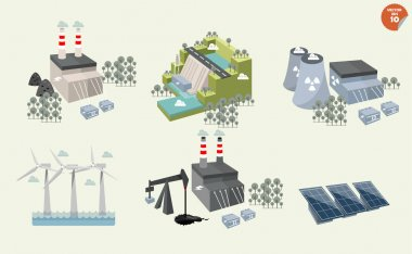 set of different power plant graphics design of different power plant renewable and nonrenewable energy sources: solar wind water hydro power petroleum coal geothermal gas nuclear and bio fuel.