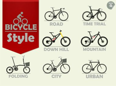 set of bicycle which consist of mountain bike,road bike,downhill bike,urban bike,city bike,time trial bike and folding bike