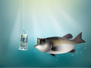 brazilian reals money paper on fish hook, fishing using brasilian reals cash as bait, brazil investment risk concept idea