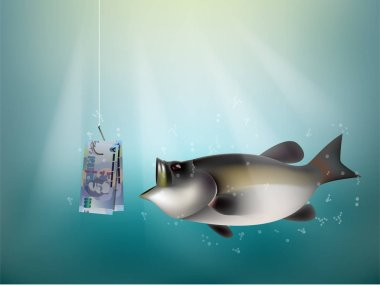 south african rand paper on fish hook, fishing using south african rand money cash as bait, south africa investment risk concept idea