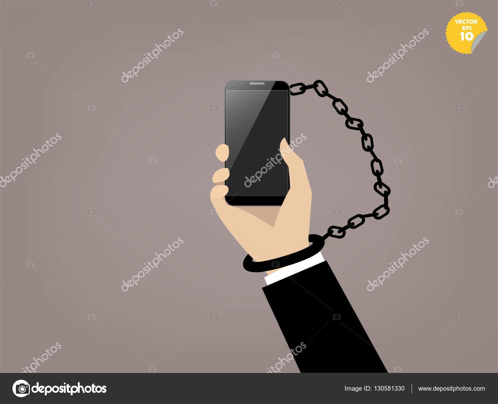 schöne Grafik-Design von Smartphone sucht, Hand angekettet mit ...