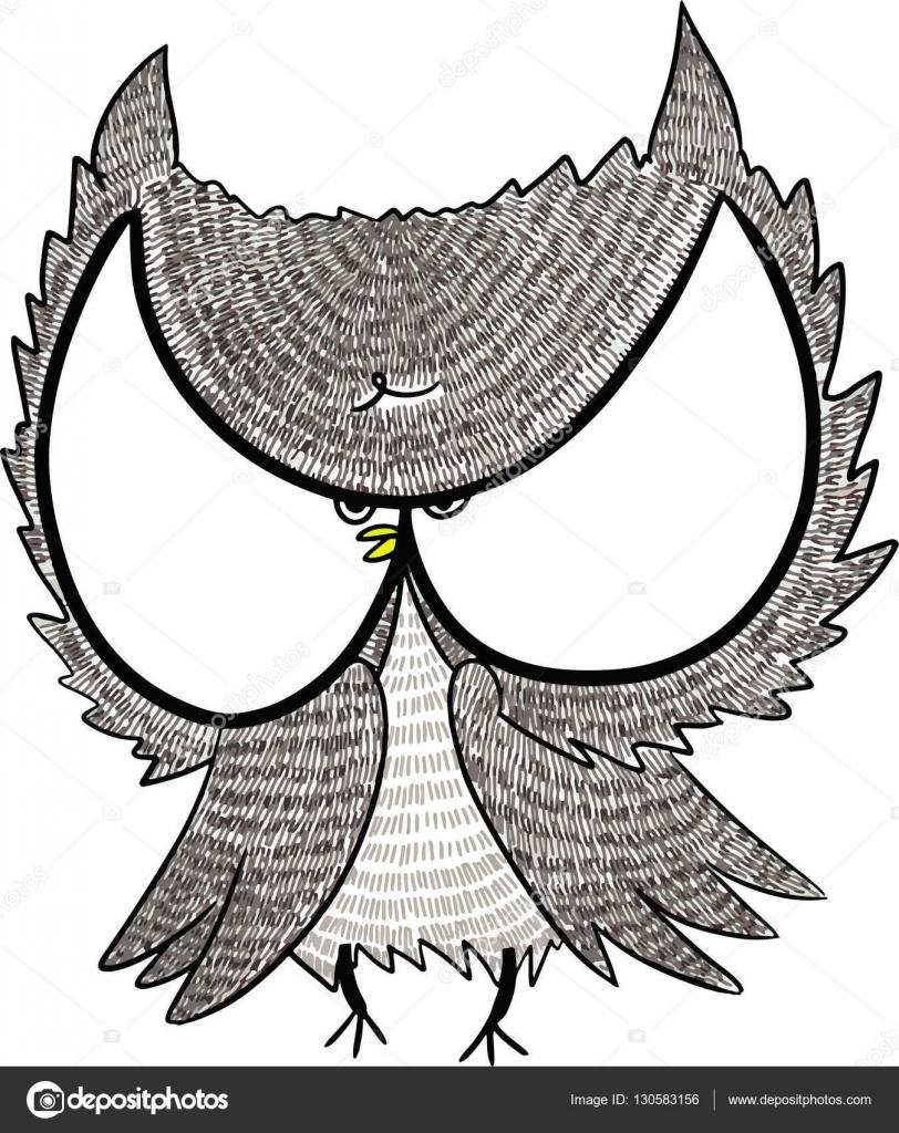 ilustração de coruja bonito olho grande de desenho a mão livre