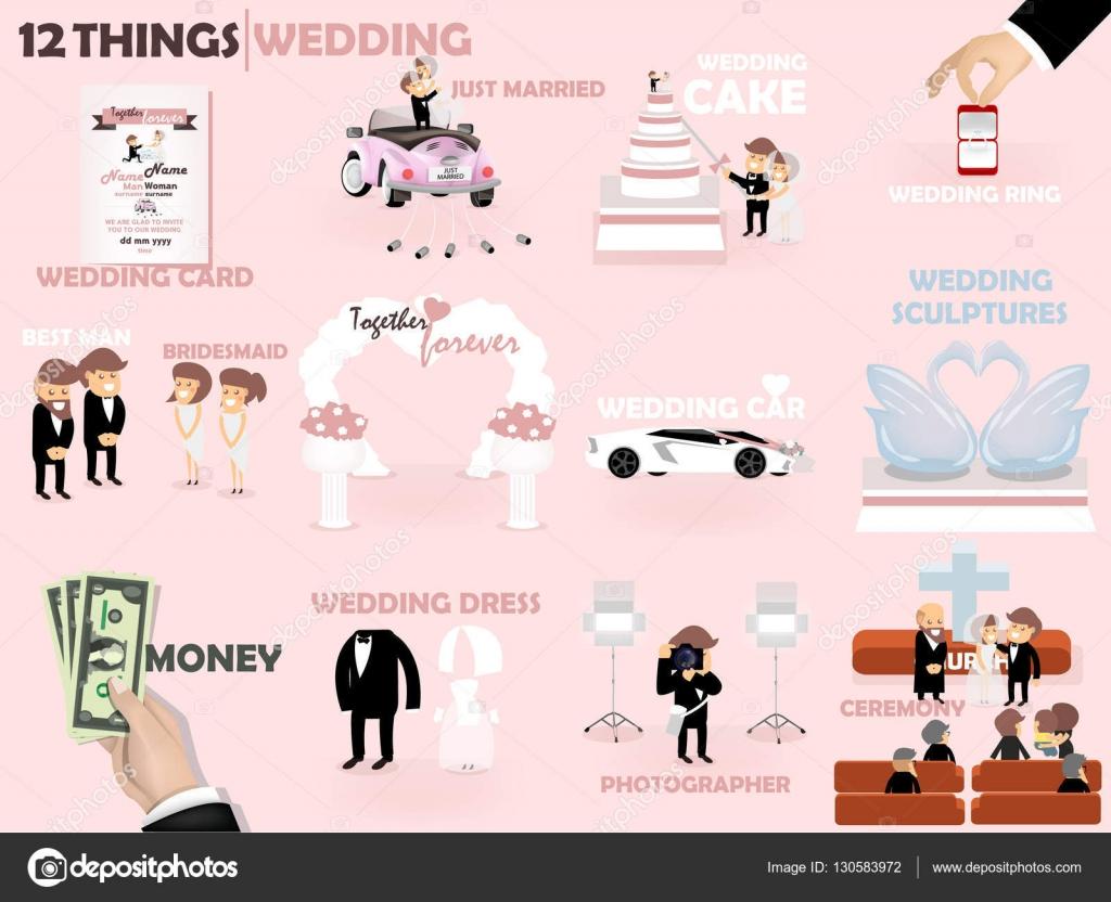 Piękny Projekt Graficzny 12 Rzeczy ślub ślub Zaproszenie Ciasto